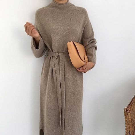 Sweater Dress – modest wear, hijab, minimal, monochrome, street style, autumn-winter, spring-summer, neutral, smart casual, oversized, jumper, nude, k…