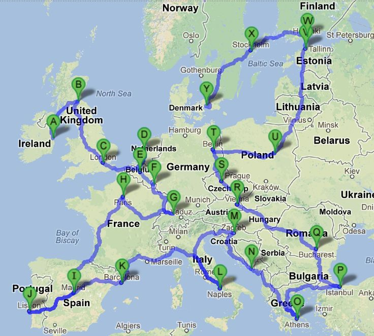 Backpacking Map of Europe | Backpacking Europe is on my bucket list - I will do this in the next 5 years!
