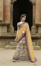 Show details for Magnificent Cream and Yellow Designer Lehenga Choli
