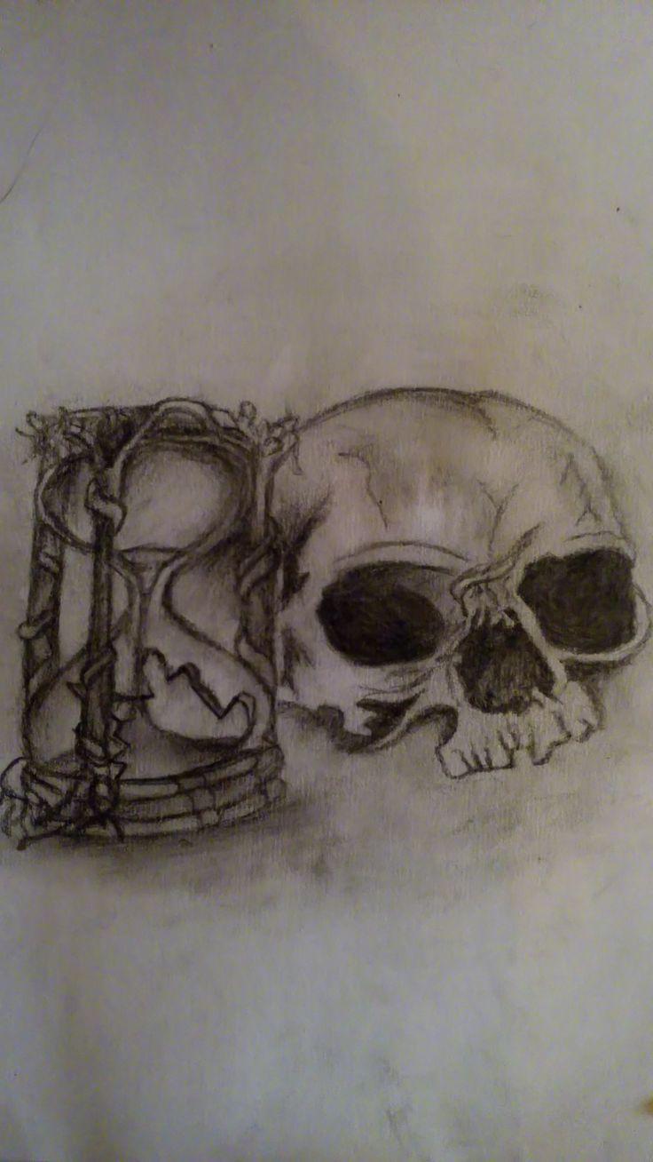 skull hourglass / Drawing