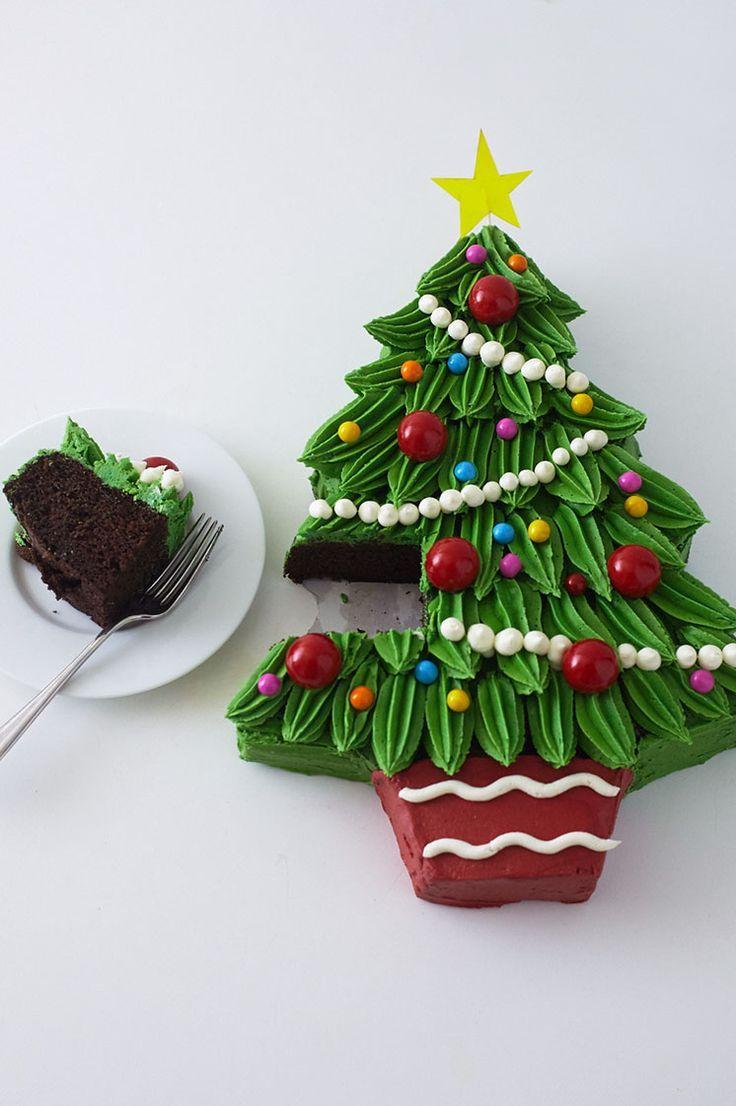 Piped Buttercream Christmas Tree Cake Tutorial Christmas
