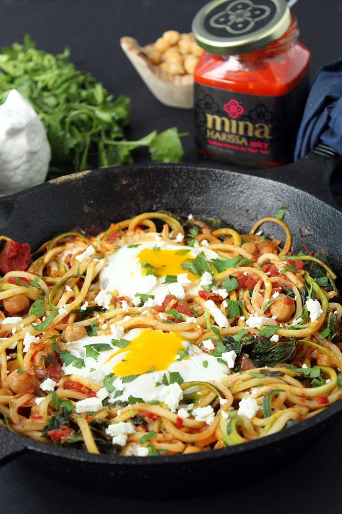Harissa Zucchini Spaghetti Skillet With Kale, Chickpeas And Poached Eggs using one awesome kitchen tool