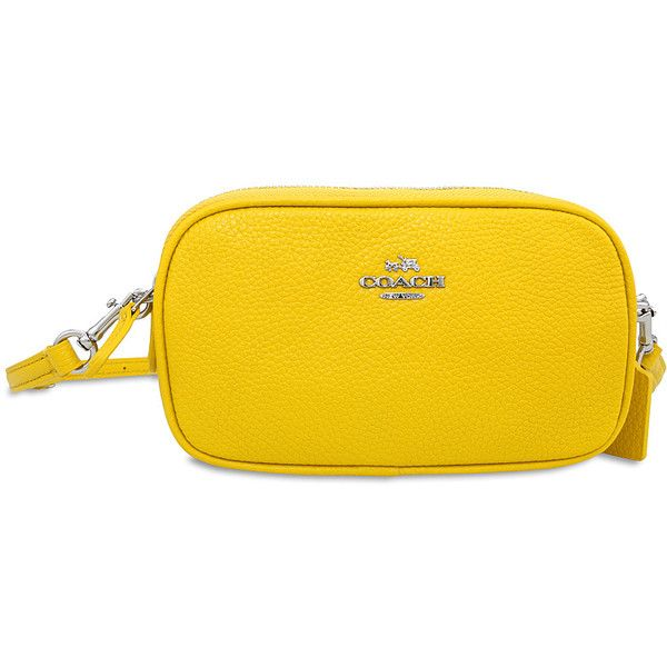 Coach Crossbody Pebbled Leather Pouch- Silver/Banana Coach (2.017.125 VND) ❤ liked on Polyvore featuring bags, handbags, pouch purse, yellow cross body purse, crossbody purse, silver pouch and crossbody bags