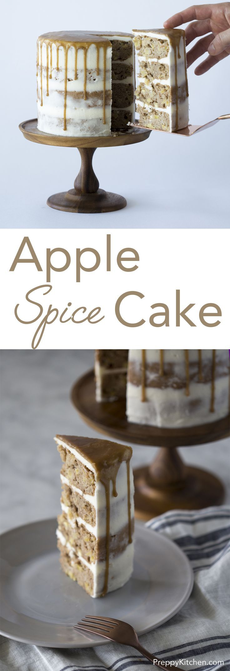 Perfect for Autumn, this delicious caramel apple spice cake is packed with apples, Fall spices and caramel. Click over for full recipe andante video! via /preppykitchen/