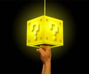 8-bit question block lamps. Punch it from the bottom to activate it just like in Super Mario Bros.