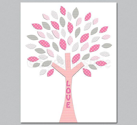Scuola materna rosa e grigio arte stampa 8x10 Kids di SugarInspire