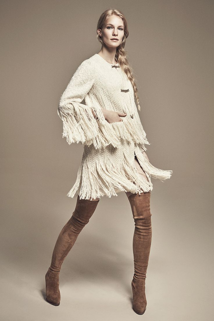 KENDALL - Two-Tier Fringed Tweed Coat w/ Chain Closures