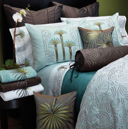 Anali Beach Palm Blue Super King Duvet Cover 112x98 in - Eucalyptus by Anali. $1868.00. Tropical palm trees are embroidered on these luxurious sateen sheets, duvet covers and shams. Sheets and pillowcases are in White; duvet covers and shams in Eucalyptus sateen. Fitted sheets are plain with no embroidery.