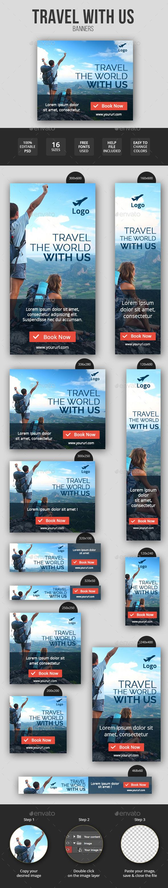 Flat & Minimal Travel Banners Tempalte #design Download: http://graphicriver.net/item/flat-minimal-travel-banners/11547501?ref=ksioks