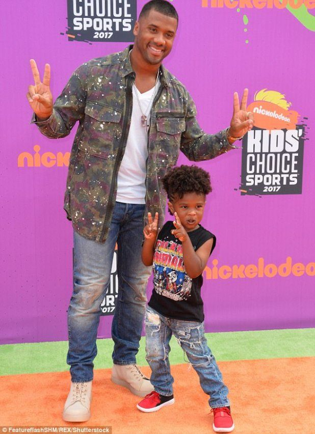Ciaras husband Russell Wilson takes her son to the Kids Sports Choice Awards (Photos)