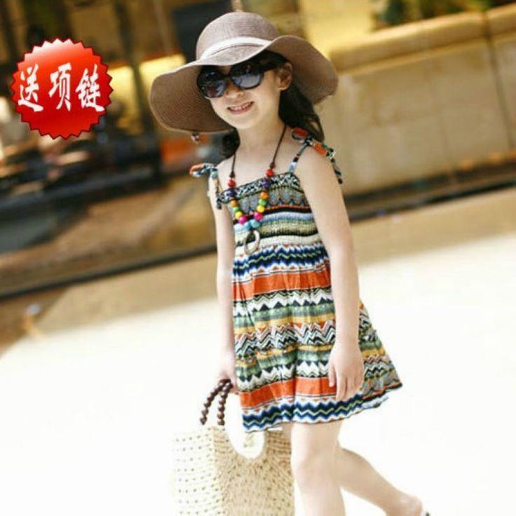 Девочки летнее платье с ожерелье детей изящные печатные пляж богемный девочки платья новая ZC2