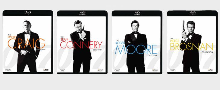 「007」俳優別Blu-rayコレクションより、左からダニエル・クレイグ、ショーン・コネリー、ロジャー・ムーア、ピアース・ブロスナン。