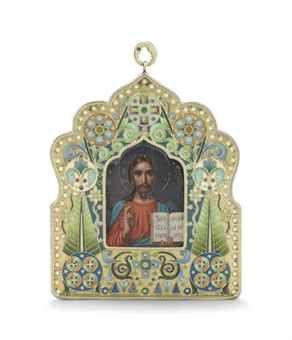 A silver-gilt and cloisonné enamel icon of christ pantocrator