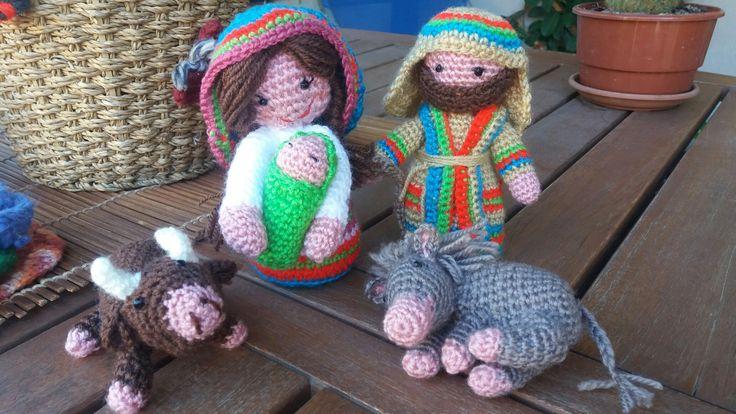 #belen #nacimiento #virgen #jose #mula #buey #amigurumi #crochet