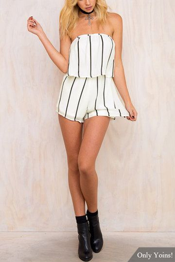 Semi Sheer Stripe Pattern Strapless Playsuit - US$13.95 -YOINS
