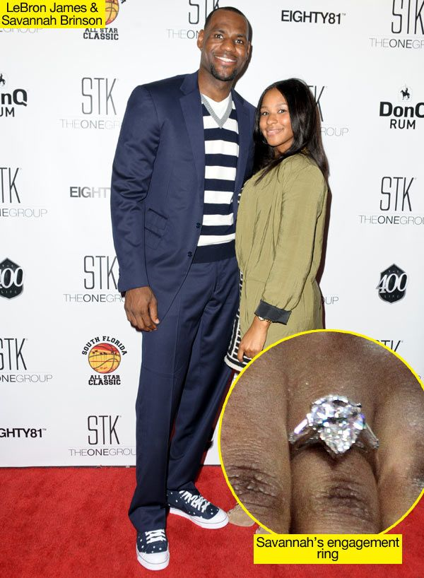 Lebron James's $300,000 Engagement Ring For Fiancé Savannah Brinson, Talk about engagement bling! Lebron showered his fiance, Savannah, with a 5-carat diamond!