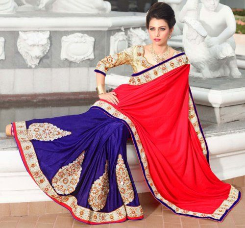 Maroon And Navy Blue Color Velvet And Viscose Bollywood Saree. Save: 5% off