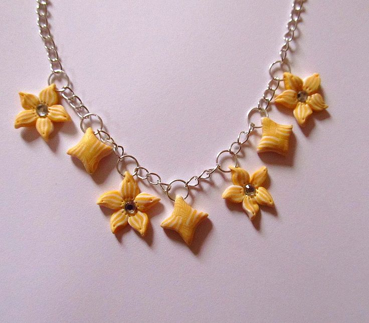 Polymer clay necklace -yellow marble flowers