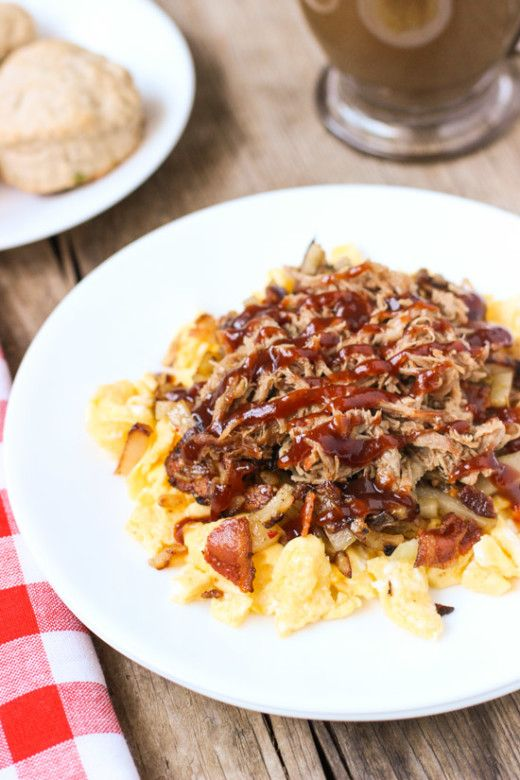 Scrambled Egg with BBQ Pulled Pork, Bacon and Potatoes