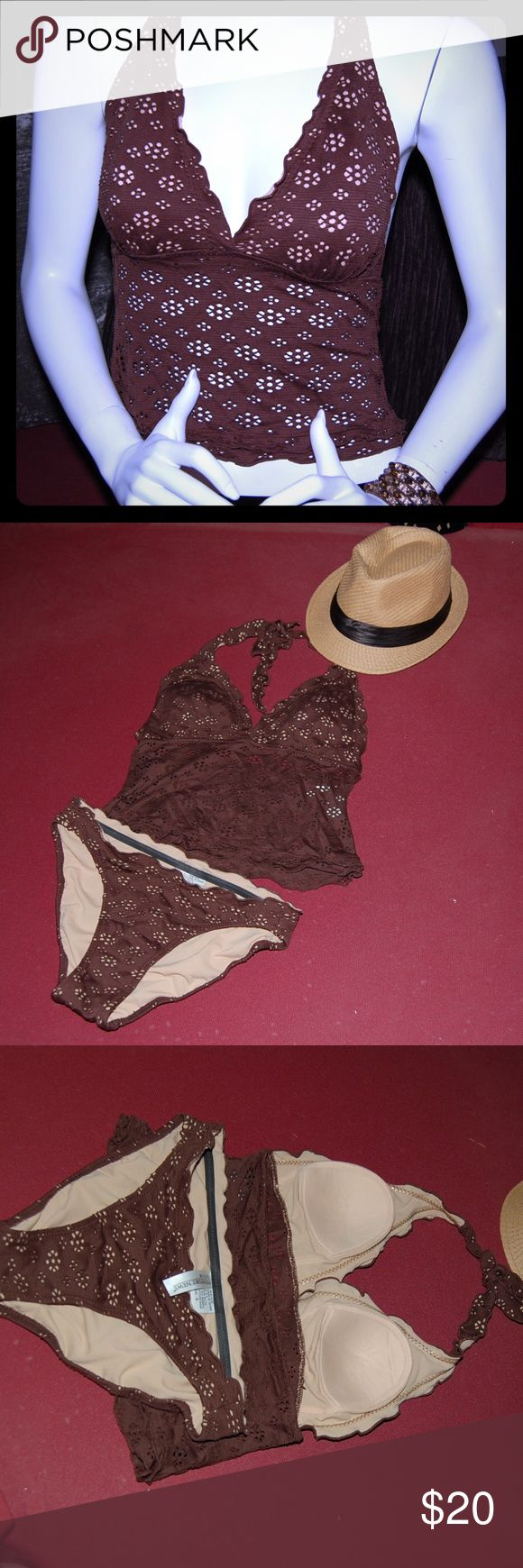 Newport News Brown Tankini! 👙☀️ Fun Brown Tankini With A Bit of Ruffles. Soft Cups, size 4 but fits size 6. Newport News Swim Bikinis