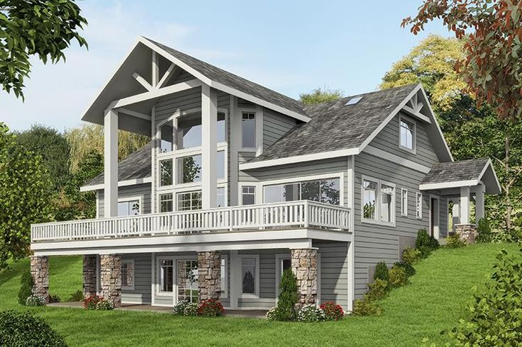 HOUSE PLAN 039-00587 – Got views – here's a perfect Lakefront or Mountain house plan. Gorgeous window views, generous outdoor space and complementary exterior elements are highlighted on this house design. The interior layout is situated on a basement foundation and the home features approximately 3,695 square feet of living space with three bedrooms and three plus baths.