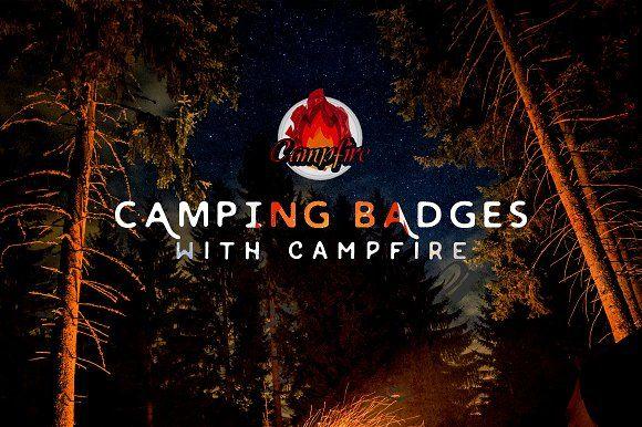 Camping Badges by Roman Paslavskiy on @creativemarket