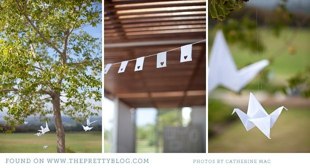 paper decorations: Punch Flags, Decor Ideas, Wedding A L, Trees, Party'S Styl Ideas, Parties Styl Ideas, Origami Birds
