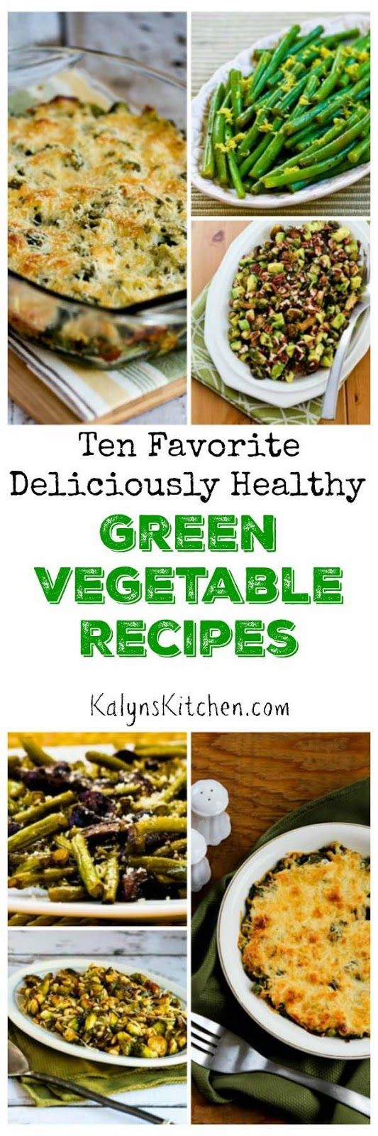 Here are my Ten Favorite Deliciously Healthy Green Vegetable Recipes; perfect for a holiday meal or any time you're making a special dinner. All the recipes are low-carb and gluten-free and some are Paleo.  [found on KalynsKitchen.com]