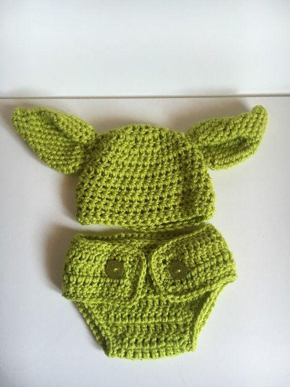 Crochet bebé Yoda traje sombrero con cubre pañal Yoda