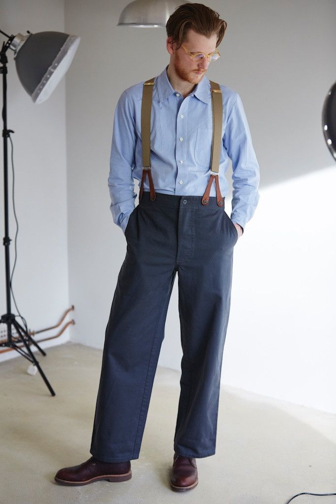 """Popular, loose cut trouser style worn mainly but not exclusively by men. High back with braces buttons. Side pockets, waist adjuster on back. Bottoms approx. 19""""."""