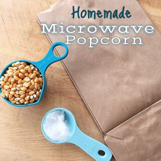 This trick is easy and saves you tons of money. All you have to do is place 1/3 cup popcorn kernels in a lunch sack. Drop about 1/2-1 tablespoon of coconut oil in the bag (no need to melt or even measure, just guess). Then add lots of salt or at least that's what I like! Fold over the top 3 times and cook until the kernels stop popping (2-3 min)