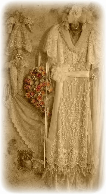 vintage heirloom wedding dress shadow box