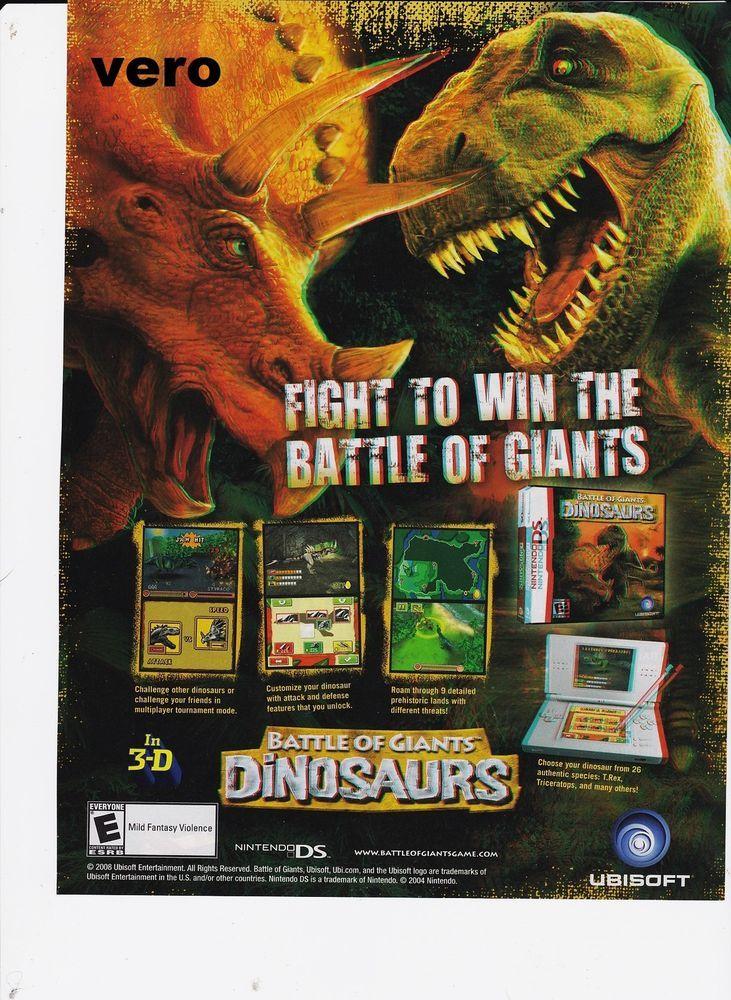 BATTLE OF GIANTS DINOSAURS 2008 video game magazine print