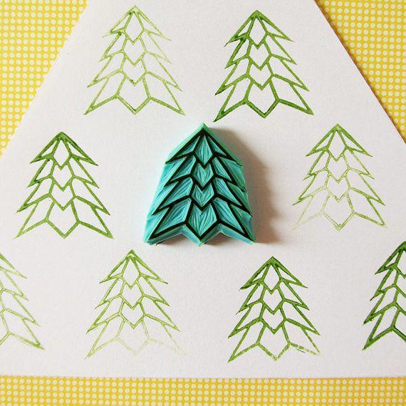Kerstboom rubberstempel, geometrische boom, hand gesneden stempel, christmas decor, DIY vakantie ideeën