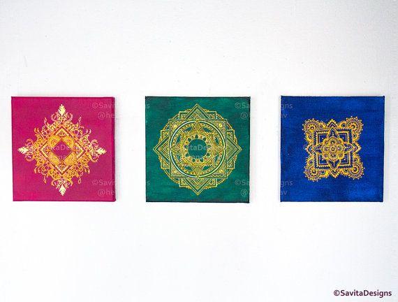 Mandala Henna Canvas - Set of 3