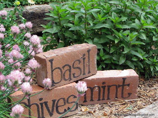 Turn old bricks into herb garden markers .Or I may try any word (bloom, grow, etc....) or butterfly stencil..yeah!