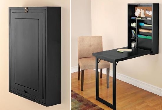 "Don't have adequate space to place a conventional desk in your home? Have a look at this portable desk dubbed the 'Fold-Out Convertible Desk"" that when not in use folds to become a 6"" deep wall cabinet for easy storage. The compact workstation other than providing an instant workspace also includes a number of shelves to store office supplies, slots for file folders and a corkboard for notes. Measuring just about 22""x32""x 6"", the convertible desk is just ideal for small spaces."