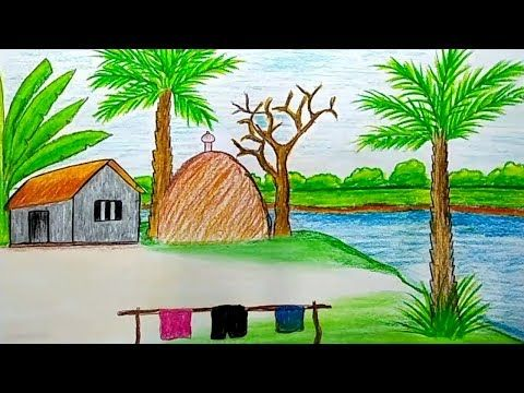 Draw A Beautiful Riverside Village Scenery Step By Step With Oil