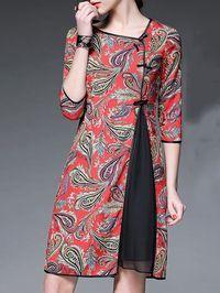 Red Paisley Crew Neck Half sleeve A-line Vintage Asymmetric Chiffon Midi Dress