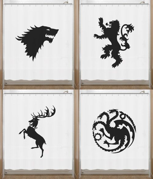 Game of Thrones Shower Curtain House Sigil Stark Lannister Targaryen Baratheon bathroom decor bath