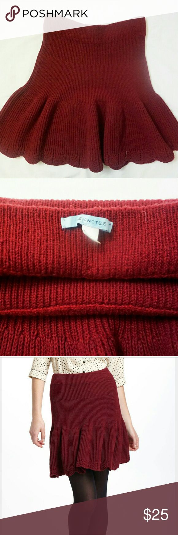 Anthropologie sweater skirt Worn only once! Adorable scallop edged maroon sweater skirt from Anthropologie. Although this is a sweater, it has movement. With an elastic waistband, you can wear this skirt at different lengths. Anthropologie Skirts Mini