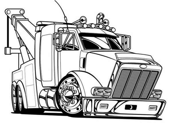 Big Tow Semi Truck Coloring Page