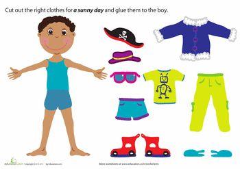 Worksheets: Summer Paper Doll Boy