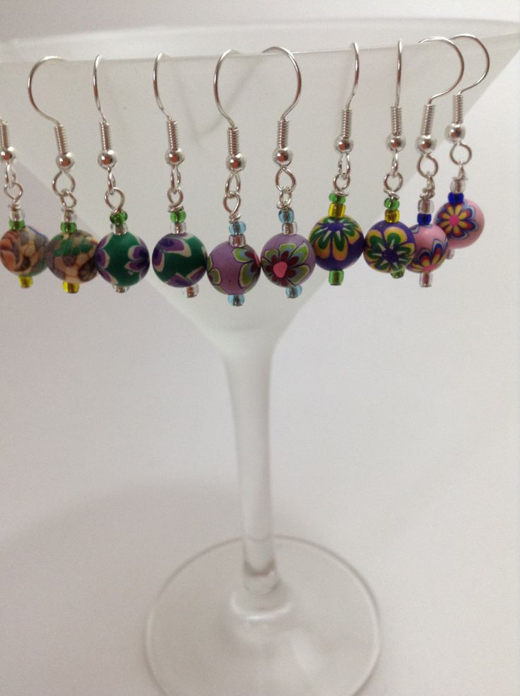 Multi coloured Earrings - colourful flower designs by NJscollection on Etsy