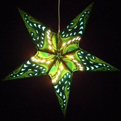 """Paper Star Lantern with Light, GREEN PAISLEY - 3. Electric Triple Socket by Asian Imports. $39.95. As seen on MTV's unplugged series, this 24"""" star lantern will provide lighted style and excitement to your party, special event or home decor. Each lantern is designed with intricate cutouts that are lined with colored, translucent paper providing a soft colorful glow. Choose from electric or battery operated lighting options. No matter how you choose to light it, these star..."""