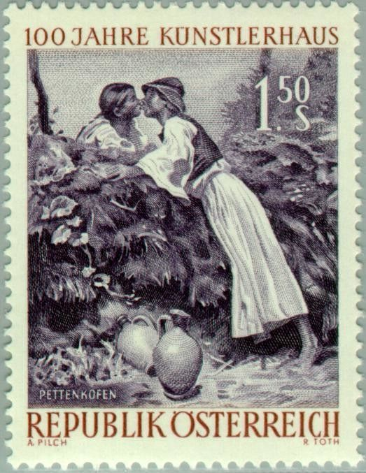"""Stamp: """"The Kiss"""" by August von Pettenkofen (Austria) (Artists Society) Mi:AT…"""