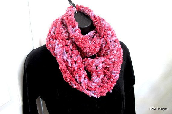 Soft chunky cowl long pink circle scarf crochet neck warmer