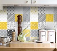 Apply this Tiles Stickers Yellow Gray in any flat surface. If you are looking for a piece of art, Tiles Stickers Yellow Gray is the perfect choice.