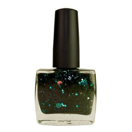 Dancing In The Moonlight černý jelly lak na nehty s třpytky v různých tvaréch, velikostech a barvách, včetně stríbrné a tmavě modrozelené. Růčně vyrobený lak na nehty z Dánska. 11 ml.