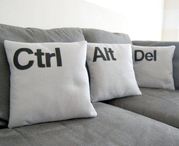 Nerd pillows: Pillows Covers, Idea, Ctrl Alt Del, Del Pillows, The Offices, Throw Pillows, Pillows Sets, Geek Chic, Home Offices